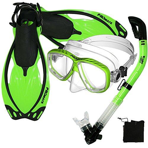 シュノーケリング マリンスポーツ Promate Snorkeling Scuba Dive Mask Fins DRY Snorkel Gear Set, Green, S/Mシュノーケリング マリンスポーツ
