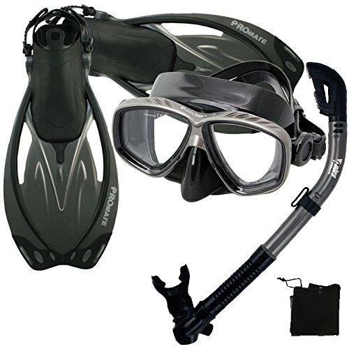 シュノーケリング マリンスポーツ Promate Snorkeling Scuba Dive Mask Fins Dry Snorkel Gear Set, TIBK, SMシュノーケリング マリンスポーツ