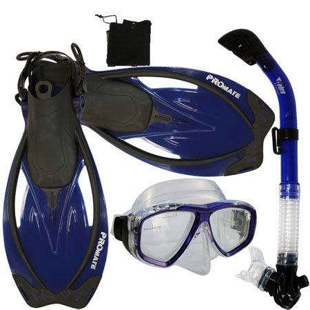 シュノーケリング マリンスポーツ PROMATE Snorkeling Scuba Dive Mask Fins DRY Snorkel Gear Set, TBu, S/Mシュノーケリング マリンスポーツ