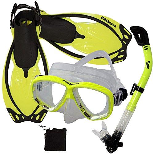 シュノーケリング マリンスポーツ Promate 275680 Scuba Dive Mask Snorkeling Fins Snorkel Set, Yellow, MLXLシュノーケリング マリンスポーツ