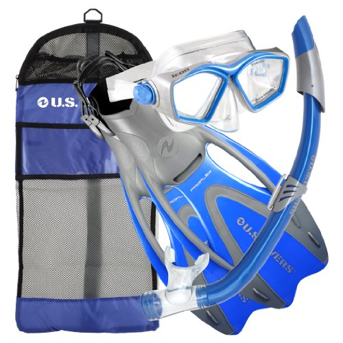 シュノーケリング マリンスポーツ 277550 U.S. Divers Adult Icon Mask/Seabreeze Snorkel/Proflex Open Heel Fins/Gearbag (Elect. Blue, Large)シュノーケリング マリンスポーツ 277550