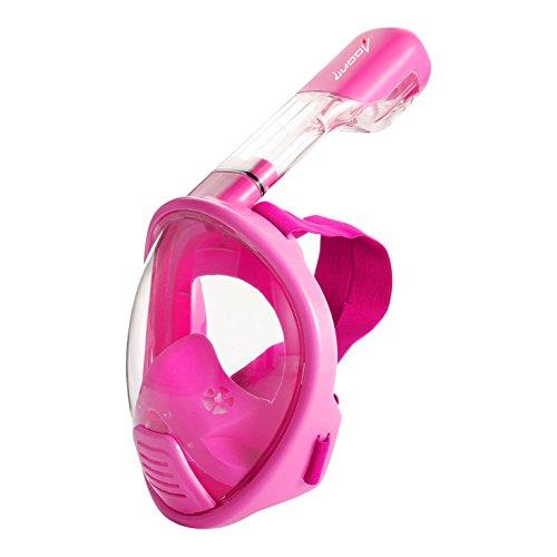シュノーケリング マリンスポーツ Free Breathing Snorkeling Mask -OUBAO 180 Dgree Larger Viewing Snorkeling Diving Mask Longer Ventilation Pipe Anti Fog and Anti Leak Adults, Youth, Children (Pink, X-Small)シュノーケリング マリンスポーツ