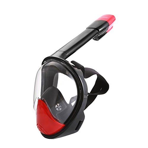 シュノーケリング マリンスポーツ Free Breathing Snorkeling Mask -OUBAO 180 Dgree Larger Viewing Snorkeling Diving Mask Longer Ventilation Pipe Anti Fog and Anti Leak Adults, Youth, Children (Black&Red, S/M)シュノーケリング マリンスポーツ