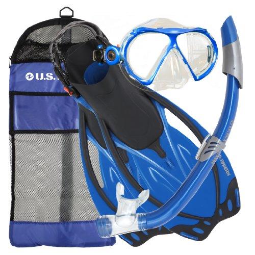 シュノーケリング マリンスポーツ 夏のアクティビティ特集 241130 U.S. Divers Men's Yucatan Mask, Starboard Fins and Nusa Snorkel Combo Set, Electric Blue, Large/X-Largeシュノーケリング マリンスポーツ 夏のアクティビティ特集 241130