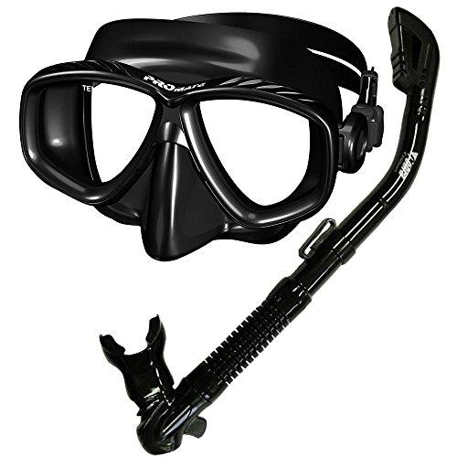 シュノーケリング マリンスポーツ Promate Snorkeling Scuba Dive Side-View Edgeless Mask Dry Snorkel Combo Set, Trans. Blue, 9090シュノーケリング マリンスポーツ