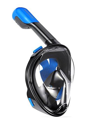 シュノーケリング マリンスポーツ Qwer Octobermoon Original 180°Full View Panoramic Full face Snorkel Mask.with Anti-Fog and Anti-Leak Snorkeling Design,See More Water World with Larger Viewing Area (Black, Large/Extra シュノーケリング マリンスポーツ