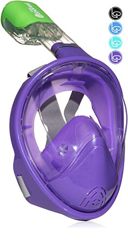 シュノーケリング マリンスポーツ Easy Snorkel Full Face Snorkeling Mask - 180 Panoramic View for Increased Visibility, Tubeless Technology Snorkeling Gear Prevents Gag Reflex - (Purple, L/XL)シュノーケリング マリンスポーツ
