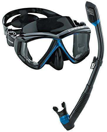 シュノーケリング マリンスポーツ Cressi Panoramic Wide View Mask Dry Snorkel Set (Black Blue)シュノーケリング マリンスポーツ