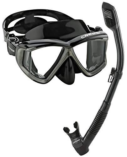 シュノーケリング マリンスポーツ CRS4WMSC-BKSL-PP Cressi Panoramic Wide View Mask Dry Snorkel Set, Black/Silverシュノーケリング マリンスポーツ CRS4WMSC-BKSL-PP