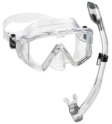 シュノーケリング マリンスポーツ CRS3WMSC-CL-PP Cressi Panoramic Wide View Mask Dry Snorkel Set, Clearシュノーケリング マリンスポーツ CRS3WMSC-CL-PP
