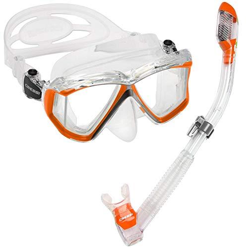 シュノーケリング マリンスポーツ 【送料無料】Cressi Pano 4 & Supernova Dry, Clear/Orangeシュノーケリング マリンスポーツ