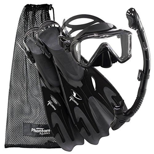 シュノーケリング マリンスポーツ PAQPMFS ABK-SM 【送料無料】Phantom Aquatics Legendary Mask Fin Snorkel Set with Mesh Bagシュノーケリング マリンスポーツ PAQPMFS ABK-SM
