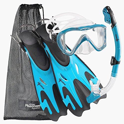 シュノーケリング マリンスポーツ PAQPMFS AQ-SM Phantom Aquatics Legendary Mask Fin Snorkel Set with Mesh Bag, Aqua, Small/Medium (5-8)シュノーケリング マリンスポーツ PAQPMFS AQ-SM