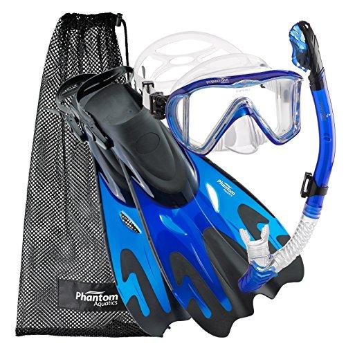 シュノーケリング マリンスポーツ PAQPMFS BL-SM Phantom Aquatics Legendary Mask Fin Snorkel Set with Mesh Bag, Blue, Small/Medium (5-8)シュノーケリング マリンスポーツ PAQPMFS BL-SM