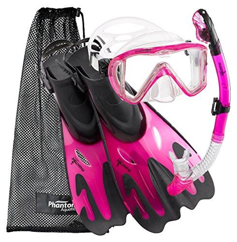 シュノーケリング マリンスポーツ PAQPMFS PK-SM Phantom Aquatics Legendary Mask Fin Snorkel Set Mesh Bag, Pink, Small/Medium (5-8)シュノーケリング マリンスポーツ PAQPMFS PK-SM