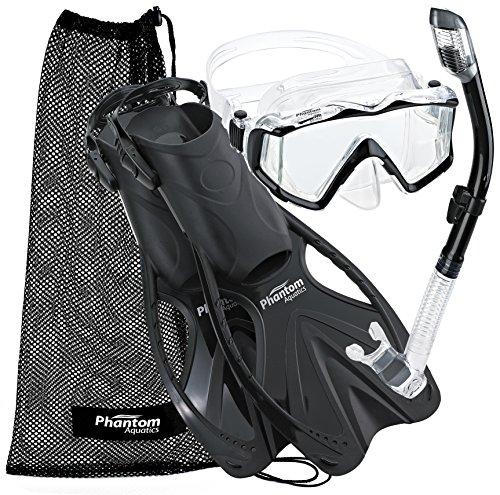 シュノーケリング マリンスポーツ PAQPMFS BK-LG 【送料無料】Phantom Aquatics Legendary Mask Fin Snorkel Set with Mesh Bagシュノーケリング マリンスポーツ PAQPMFS BK-LG