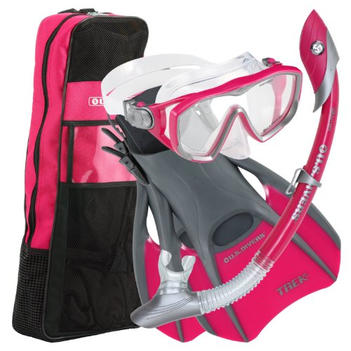 シュノーケリング マリンスポーツ 241035 U.S.Divers Diva 1 LX/Island Dry LX Snorkel with Trek/Travel Bag, Raspberry, S...シュノーケリング マリンスポーツ 241035