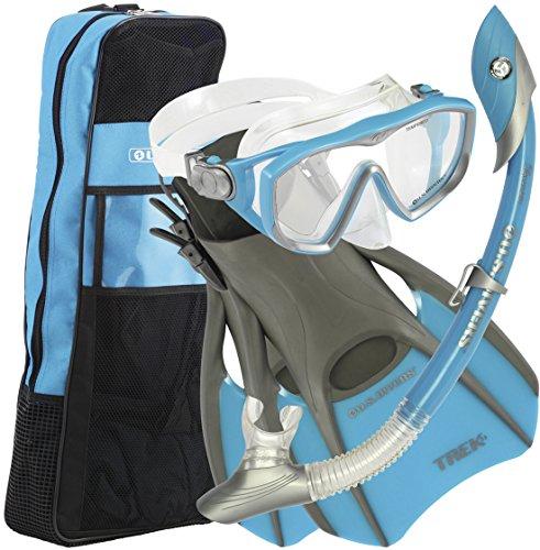 シュノーケリング マリンスポーツ 241030 【送料無料】U.S.Divers Diva 1 LX/Island Dry LX Snorkel with Trek/Travel Bag, Aqua, Mediumシュノーケリング マリンスポーツ 241030