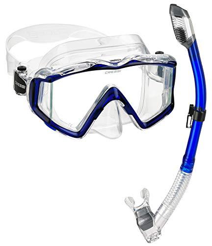 シュノーケリング マリンスポーツ Cressi Panoramic Wide View Mask Dry Snorkel Set, Blueシュノーケリング マリンスポーツ