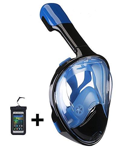 シュノーケリング マリンスポーツ Upgraded Version 180° Full Face Snorkel Mask- Panoramic View Snorkeling Mask, Soft Adjustable Head Straps with Anti Fog and Anti Leak Design (Black-Red, L/XL)シュノーケリング マリンスポーツ