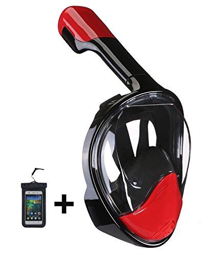 シュノーケリング マリンスポーツ Upgraded Version 180° Full Face Snorkel Mask- Panoramic View Snorkeling Mask, Soft Adjustable Head Straps with Anti Fog and Anti Leak Design (Black-Red, S/M)シュノーケリング マリンスポーツ