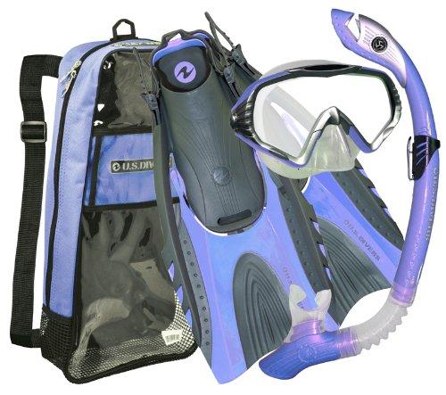 シュノーケリング マリンスポーツ 279945 【送料無料】U.S. Divers Adult Starbuck II Purge LX Mask/Paradise Dry LX Snorkel/Hingeflex II Fins/Pro Bag (Arct. Blue, Small / Medium)シュノーケリング マリンスポーツ 279945