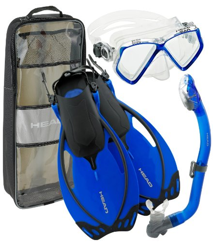 シュノーケリング マリンスポーツ Pirate Junior Deluxe Silicone Mask/Fins/Dry Snorkel Set by Head Snorkeling (Blue, Small-Youth 9-13)シュノーケリング マリンスポーツ