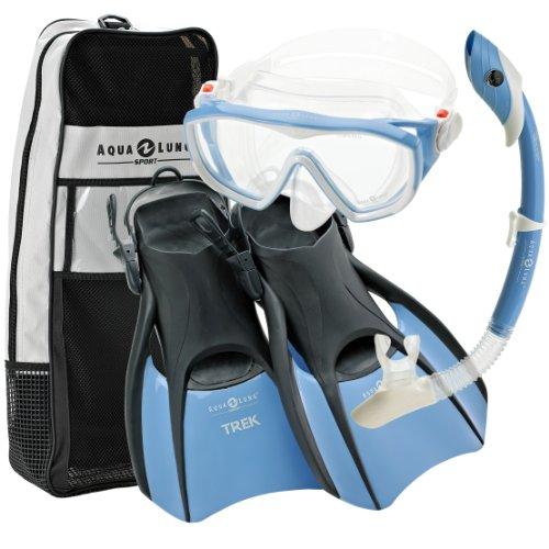 シュノーケリング マリンスポーツ Aqualung Snorkel Set with Sport Diva 1 Lx Mask, Island Dry Snorkel and Trek Fin, Blue, Medium (Ladies 8-11)シュノーケリング マリンスポーツ