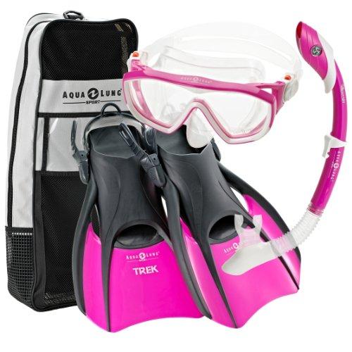 シュノーケリング マリンスポーツ Aqualung Snorkel Set with Sport Diva 1 Lx Mask, Island Dry Snorkel and Trek Fin, Pink, Medium (Ladies 8-11)シュノーケリング マリンスポーツ