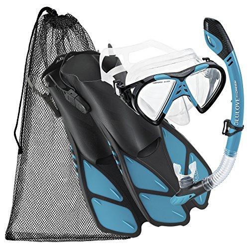 シュノーケリング マリンスポーツ Cressi BNTMFSS AQ-LG Adjustable Mask Fin Snorkel Set with Carry Bag, Size 9 to 13, Aquaシュノーケリング マリンスポーツ