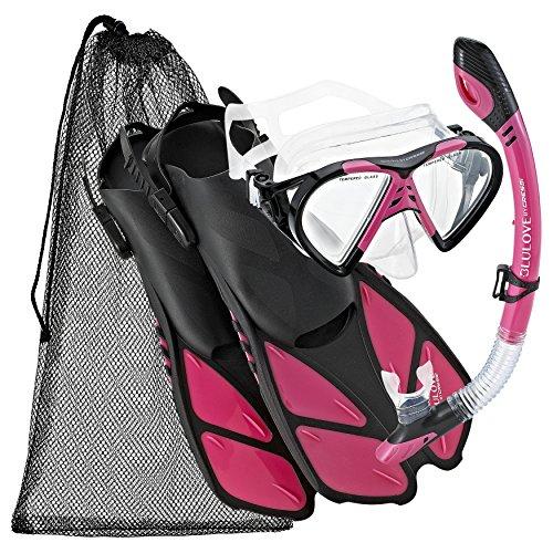 シュノーケリング マリンスポーツ 【送料無料】Cressi BNTMFSS PK-LG Adjustable Mask Fin Snorkel Set with Carry Bag, Size 9 to 13, Pinkシュノーケリング マリンスポーツ
