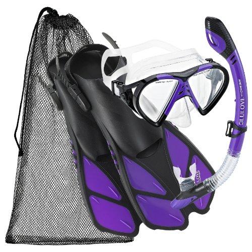 シュノーケリング マリンスポーツ 夏のアクティビティ特集 Cressi BNTMFSS PR-LG Adjustable Mask Fin Snorkel Set with Carry Bag, Size 9 to 13, Twilightシュノーケリング マリンスポーツ 夏のアクティビティ特集