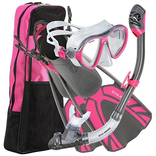 シュノーケリング マリンスポーツ 253616 U.S. Divers Azul Mask Fins Snorkel Set Gun Metal Pinkシュノーケリング マリンスポーツ 253616