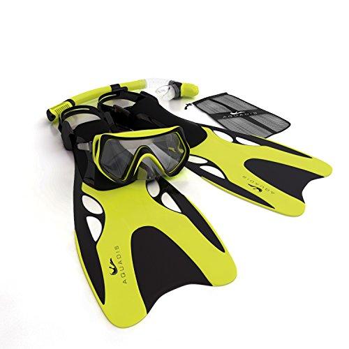 シュノーケリング マリンスポーツ Aquadis Open Foot Dry Top Snorkeling Set with Diving Mask and Dive Gear Bag, Yellowシュノーケリング マリンスポーツ