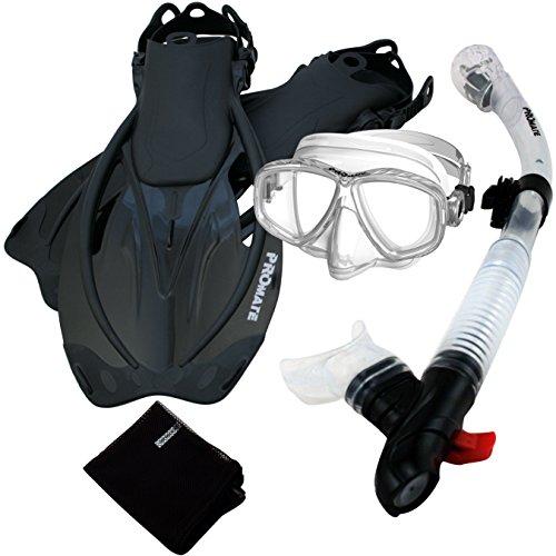 シュノーケリング マリンスポーツ 【送料無料】285890-ClrwBk-MLXL, Snorkeling Purge Mask Dry Snorkel Fins Mesh Bag Setシュノーケリング マリンスポーツ