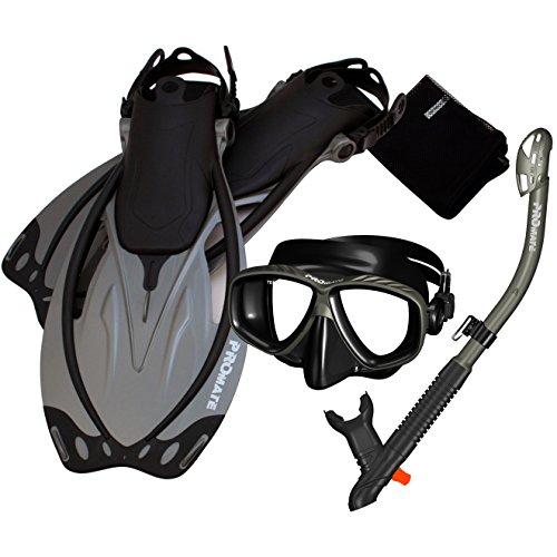 シュノーケリング マリンスポーツ 【送料無料】Promate 285890-Ti/Bk-MLXL, Snorkeling Mask Dry Snorkel Fins Mesh Gear Bag Setシュノーケリング マリンスポーツ