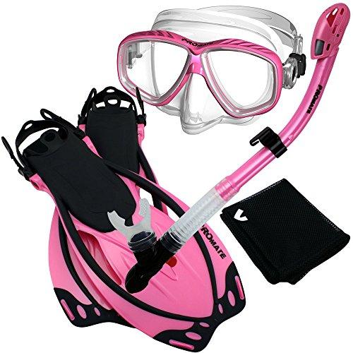 シュノーケリング マリンスポーツ 【送料無料】285890-Pink-MLXL, Snorkeling Purge Mask Dry Snorkel Fins Mesh Bag Setシュノーケリング マリンスポーツ