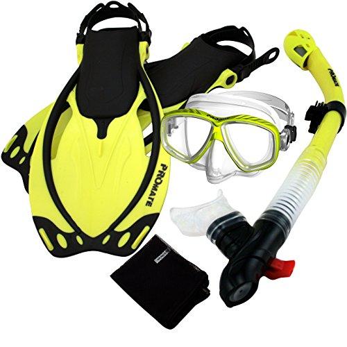 シュノーケリング マリンスポーツ 285890-Yel-MLXL, Snorkeling PURGE Mask Dry Snorkel Fins Mesh Bag Setシュノーケリング マリンスポーツ