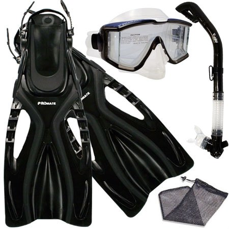 シュノーケリング マリンスポーツ Promate Snorkeling Scuba Dive SIDE-VIEWED PURGE Mask Fins Dry Snorkel Gear Set, Bk, SMシュノーケリング マリンスポーツ