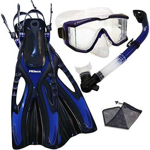シュノーケリング マリンスポーツ 【送料無料】Promate Snorkeling Scuba Dive Side-VIEWED Purge Mask Fins Dry Snorkel Gear Set, Blue, SMシュノーケリング マリンスポーツ