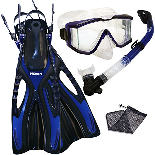 シュノーケリング マリンスポーツ Promate Snorkeling Scuba Dive SIDE-VIEWED PURGE Mask Fins Dry Snorkel Gear Set, Blue, MLXLシュノーケリング マリンスポーツ