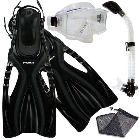 シュノーケリング マリンスポーツ Promate Snorkeling Scuba Dive Side-VIEWED Purge Mask Fins Dry Snorkel Gear Set, ClrWBk, SMシュノーケリング マリンスポーツ