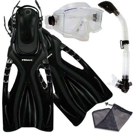 シュノーケリング マリンスポーツ Promate Snorkeling Scuba Dive SIDE-VIEWED PURGE Mask Fins Dry Snorkel Gear Set, ClrWBk, MLXLシュノーケリング マリンスポーツ