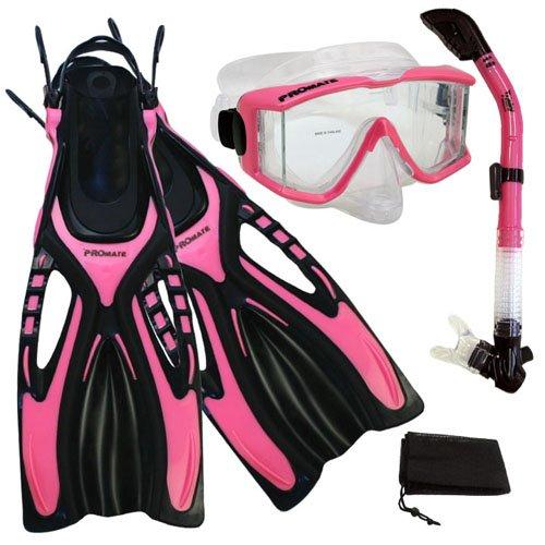 シュノーケリング マリンスポーツ Promate Snorkeling Scuba Dive Side-VIEWED Purge Mask Fins Dry Snorkel Gear Set, Pink, SMシュノーケリング マリンスポーツ