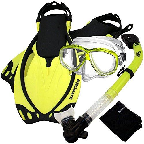 シュノーケリング マリンスポーツ 【送料無料】PROMATE Snorkeling Scuba Dive DRY Snorkel PURGE Mask Fins Gear Set, Yellow, ML/XLシュノーケリング マリンスポーツ