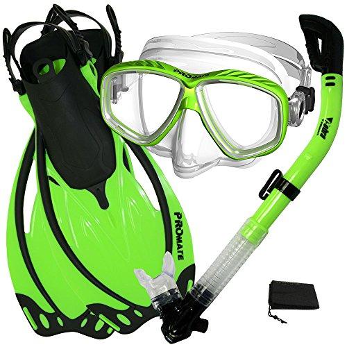 シュノーケリング マリンスポーツ Promate Snorkeling Scuba Dive Mask Fins Dry Snorkel Gear Set, Green, Medium/X-Largeシュノーケリング マリンスポーツ