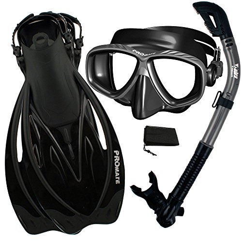 シュノーケリング マリンスポーツ 【送料無料】Snorkeling Set Snorkel Purge Mask Fins Combo Set, BkTi, SMシュノーケリング マリンスポーツ