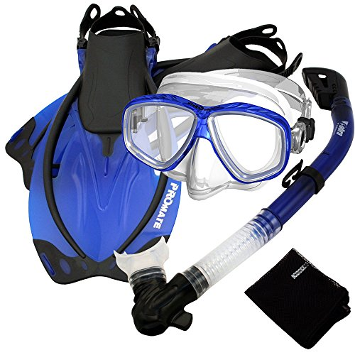 シュノーケリング マリンスポーツ SCS0011-Blue-S/M Promate Snorkel Set with Fins Dive Purge Mask Mesh Bag, Blue, Smallシュノーケリング マリンスポーツ SCS0011-Blue-S/M