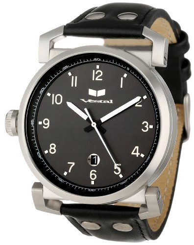 腕時計 ベスタル ヴェスタル メンズ OB3L006 【送料無料】Vestal Men's OB3L006 Observer Leather Black Silver Watch腕時計 ベスタル ヴェスタル メンズ OB3L006