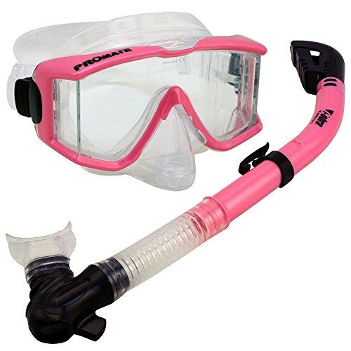 シュノーケリング マリンスポーツ 【送料無料】Snorkeling Scuba Dive DRY Snorkel Purge Edgless Mask Gear Set, Pinkシュノーケリング マリンスポーツ